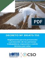 Decreto N° 39147 S TSS Reglamento para la Prevencion Proteccion de las Personas Trabajadoras Expuestas a Estres Termico por calor