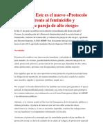 Protocolo de Acción Frente Al Feminicidio y Violencia de Pareja de Alto Riesgo