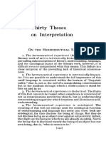 Thirty Theses on Interpretation (Richard Palmer)