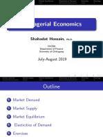 Managerial Economics (Demand, supply, equilibrium and elasticities)