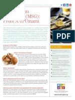 Monosodium Glutamate MSG Fact Sheet