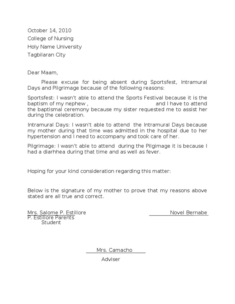 Excuse letter stopboris Gallery