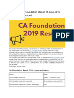 When Will CA Foundation Result of June 2019 Exam be Announced