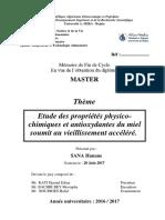 Etude Des Propriétés Physico-chimiques Et Antioxydantes Du Miel Soumit Au Vieillissement Accéléré