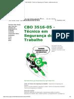 CBO 3516-05 - Técnico Em Segurança Do Trabalho - Stbtreinamento.com