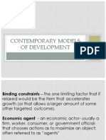 Contemporary models of development and underdevelopment