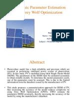 Photovoltaic Parameter Estimation Using Grey Wolf Optimization
