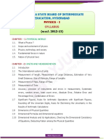 Telangana Board of Intermediate Education I Year Physics Syllabus