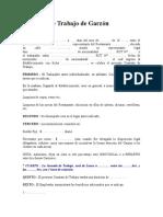 Contrato de Trabajo de Garzón