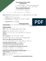 Thermodynamics Review Sheet