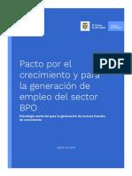 Pacto Por El Crecimiento y Para La Generación de Empleo Del Sector - BPO