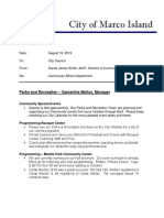 Community Affairs Department report to Parks and Recreation Advisory Committee - Aug 2019