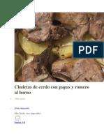 Chuletas de Cerdo Con Papas y Romero Al Horno