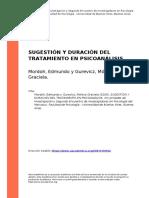 Mordoh, Edmundo y Gurevicz, Monica Gr (..) (2006). Sugestion y Duracion Del Tratamiento en Psicoanalisis