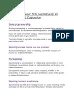 difference between sole proprietorship vs partnership vs corporation