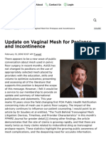 Update on Vaginal Mesh for Prolapse and Incontinence - President's Perspective - News _ AUGS