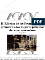 Diego Ricol - II Edición de Los Premios Acacv Premiará a Las Mejores Películas Del Cine Venezolano