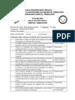 Examen Ciencias de La Salud 5.b Escuela Preparatoria