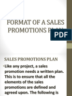 Format of a Sales Promotions Plan