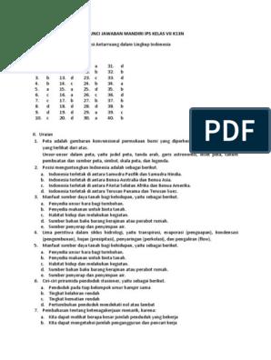 Kunci Jawaban Mandiri Ips Kelas Vii K13n Docx