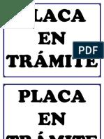 Placa en Trámite