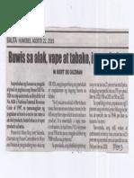 Balita, Aug. 22, 2019, Buwis sa alak, vape at tabako, inaprubahan.pdf