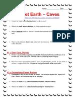 Planet Earth Caves Worksheet