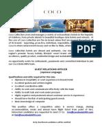 Job Advert - Guest Relations Officer - 22.08.2019