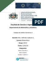 Trabajo de Analisis Numerico Profesor Wilfredo Calderon Carmona