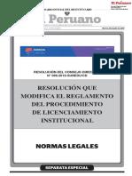 Resolucion Modifica Reglamento Licenciamiento