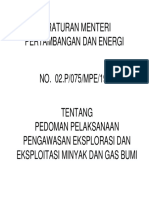 Permen No 2 Th 1992 Pedoman Pelaksanaan Pengawasan Eksplorasi Dan Eksploitasi Minyak Dan Gas Bumi