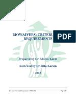 Biowaivers  criteria  requirements