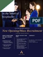 Mass Recruitment Ws& d, Finance & Culinary