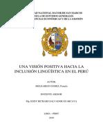 UNA VISIÓN POSITIVA HACIA LA INCLUSIÓN LINGÜÍSTICA EN EL PERÚ - Pamela Melgarejo Gomez