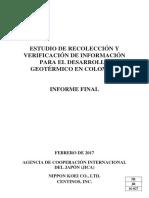 Estudio Recoleccion y Verificacion de Informacion Para El Desarrollo Geotermico en Colombia (2017)