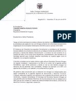 Carta de Iván Duque, presidente de Colombia