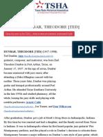 DUNBAR, THEODORE [TED] | The Handbook of Texas Online| Texas State Historical Association (TSHA)