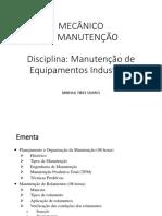 Aula 1 - Manutenção de Equipamentos Industriais.ppt