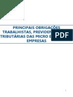 Principais Obrigações Trabalhistas, Previdenciárias e Tributárias Das MPE