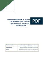 Determinacion de La Humedad de Un Alimento Por Un Metodo Gravimetrico Indirecto Por Desecacion.