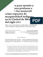 Los Momoztli Como Espacios de Marginalidad Indígena en La Ciudad