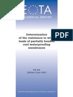 EOTA TR005 - Wind Loads Resistance of Roof Waterproofing