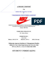 """NIKE MARKETING STRATEGY OF NIKE AT """"NIKESHOES INDUSTRIES LIMITED"""