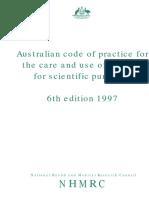 Animal Experimentation Code of Practice