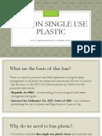 Ban on Single Use Plastic - Basic Lesson - Villalon