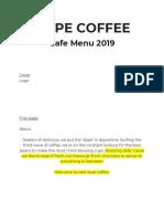 Dope Coffee Cafe Menu 2019