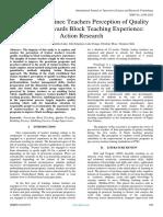 Pre-service Trainee Teachers Perception of Quality Teaching Towards Block Teaching Experience