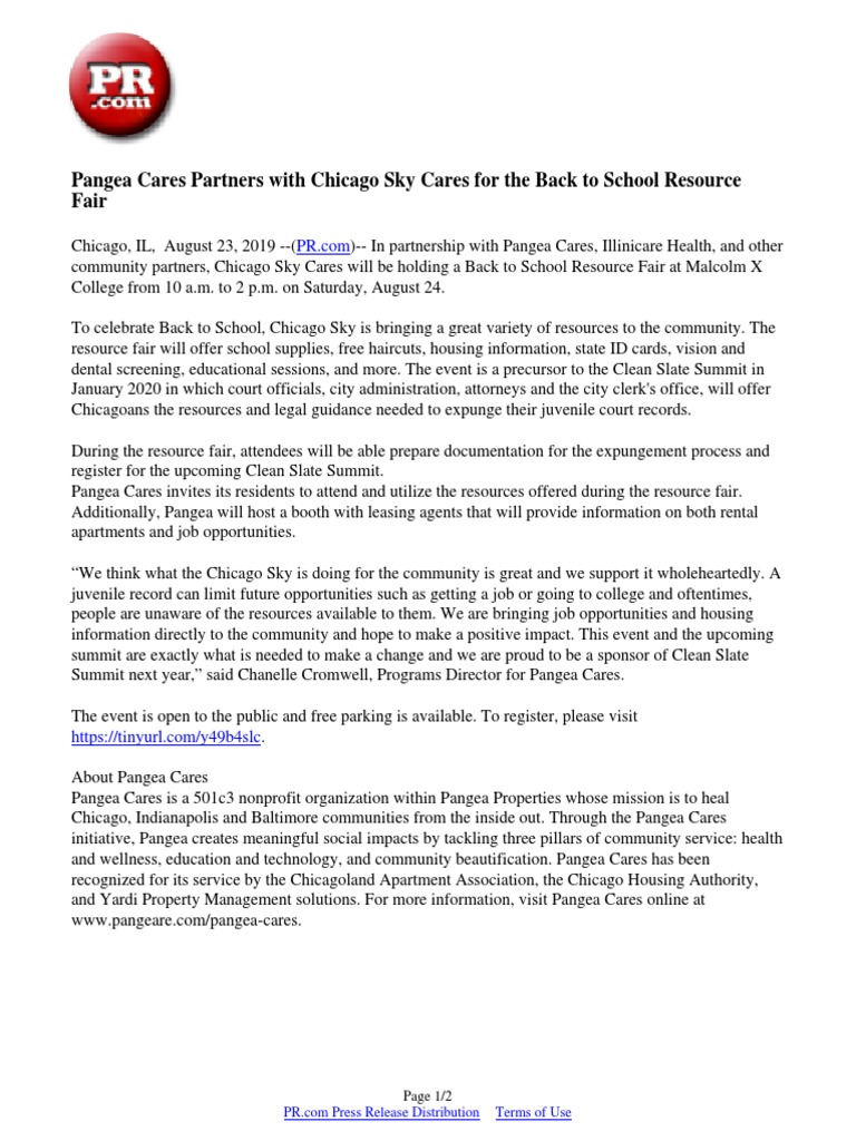 2020 Career And Resource Fair In Harlem.Pangea Cares Partners With Chicago Sky Cares For The Back To