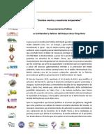 PRONUNCIAMIENTO PÚBLICO EN SOLIDARIDAD Y DEFENSA DEL BOSQUE SECO CHIQUITANO