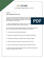 Questionário Do Módulo Noções de Teologia Sistemática I - Picuí